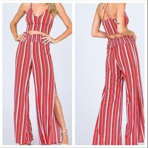 NWT 2 Piece High Slit Pants Set Like Fashion Nova